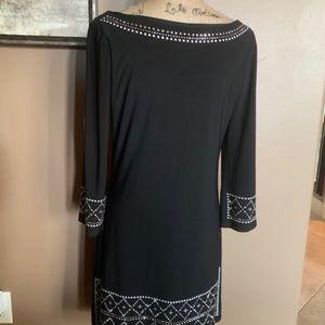 Black Dress Sz M (6) embellished sleeves & Hem